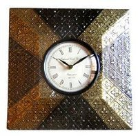 Square Shaped Metal Finish Clock