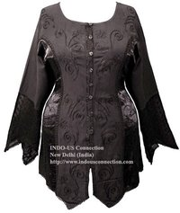 Gothic Renaissance Embroidered Rayon Satin Panel Blouse/Top