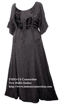 Embroidered Dark Seduction Rayon Velvet Lace-Up Corset Dress Gown