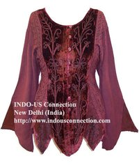 Luxurious Rayon Velvet Pixie Renaissance Gothic Top/Blouse