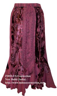Luxurious Embroidered Rayon Velvet Gypsy Renaissance Gothic Skirt