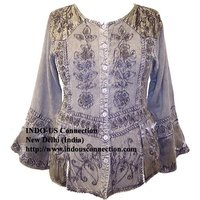 Embroidered Renaissance Gothic Blouse With Lace Work Long Sleeve
