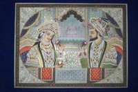 Shahjahan And Mumtaj Painting On Camel Bone