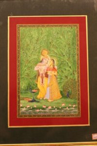 Radha Krishna With The Banana Tree Painting