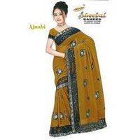Georgette Black Sequence With Net Saree