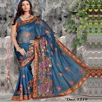 Blue Net Print Saree
