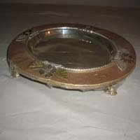 Wood Silver Plated Tray