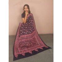 Pink Black Kantha Silk Sarees