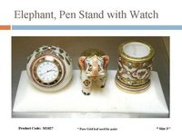 Elephant, Pen Stand With Watch