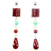 Designer Red Color Stone Beaded Earring
