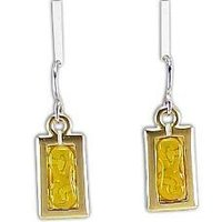 Yellow Stone Beaded Metal Earring