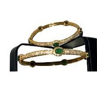 Emerald Diamond Studded Gold Bangle
