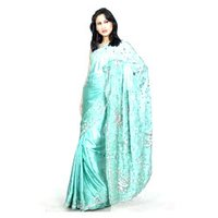 Embroidered Satin Saree