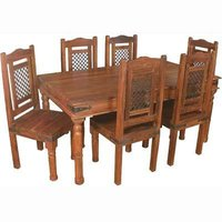 Ethnic Wooden Dining Table With Six Chair Set