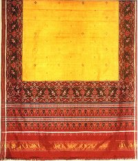 Yellow Plain With Undali Border Sari