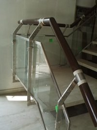 Glass Railing With Wooden Handrails