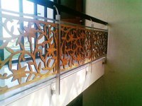 S.S. Glass Railing With Wooden Carvings