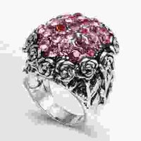 Fashion Vintage Flower Sculpture Rose Crystal Domed Ring-J0364y Jewelry