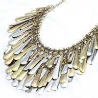 Fashion Luxurious Two Tone Leaf Shape Fringe Alloy Necklace-X0285R Jewelry