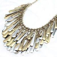 Fashion Luxurious Two Tone Leaf Shape Fringe Alloy Necklace-X0285R Jewelry