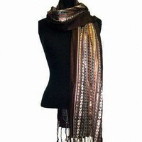 Rayon Metallic Ikat Scarves with Self Twisted Fringe