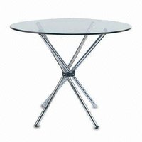 Clear Glass Table With Rounded Steel Legs