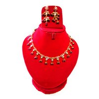 Gold Chain Set In Red Beads