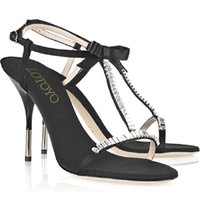 Crystal-Embellished Twill T-Bar Sandals