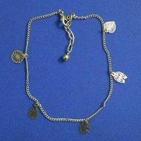 Silver Colour Thin Leafe Shape Anklets