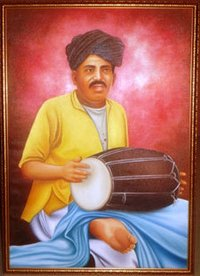 Man Playing Dholak Paintings