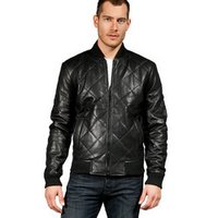 Leather Quilted Bomber Jacket