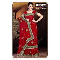 Embroided Synthetic Saree