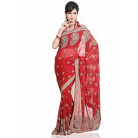Red Pure Georgette Saree With Blouse