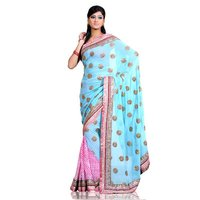 Georgette Lahriya Saree With Blouse