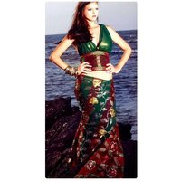 Faux Georgette Crepe Saree With Blouse