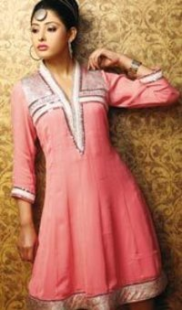 Pink Lined Indian Kurti