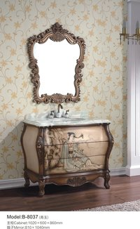 European Antique Solid Wood Bathroom Cabinets