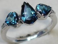 Blue Tourmaline Gold Rings