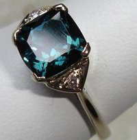 Diamond And Blue Tourmaline Studded Rings