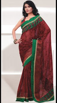 Deep Red Crepe Embroidered Saree
