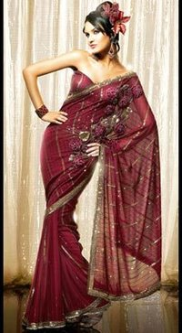 Deep Red Designer Georgette Saree