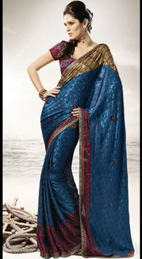 Digital Print Sari In Satin Jacquard