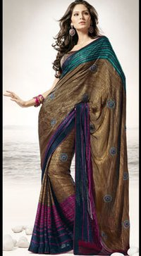 Charismatic Brown Multi Striped Sari