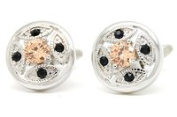 Romance Black Crystal Yellow Zircon Diamond Cufflinks