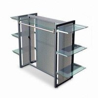 Garment Display Stand with 6 Glass Shelves