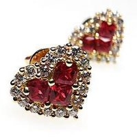 Rubies Studded Gold Earrings