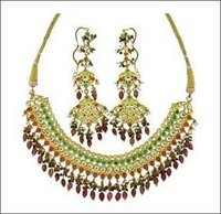 Gold Antique Kundan Stone Necklace Set