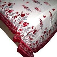 Red And White Floral Block Printed Cotton Bedsheets