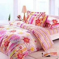 Cotton Striped Floral Printed Bed Sheets