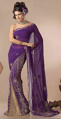 Purple Color Shimmer Georgette Lehenga Style Sarees